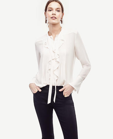 Image of Tie Neck Ruffle Blouse