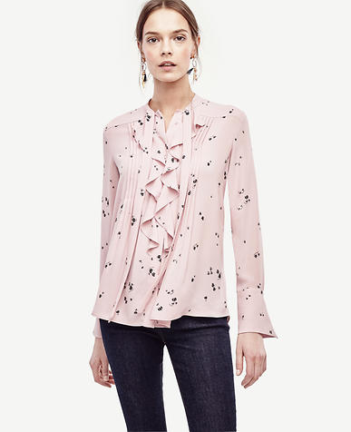 Image of Floral Tie Neck Ruffle Blouse