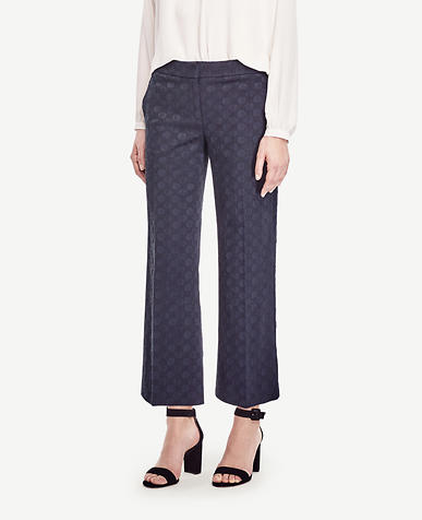 Image of Dot Jacquard Wide Leg Crop Pants