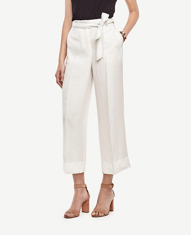 Image of Cuffed Belted High Waist Wide Leg Pants