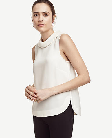 Image of Matte Jersey Mock Neck Top