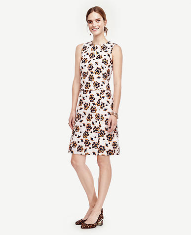 Image of Floral Jacquard Sleeveless Dress