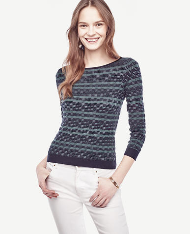 Image of Striped Extrafine Merino Wool Boatneck Sweater
