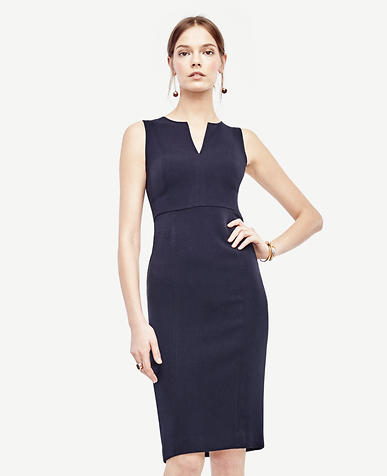 Image of Petite Doubleweave Split Neck Sheath Dress