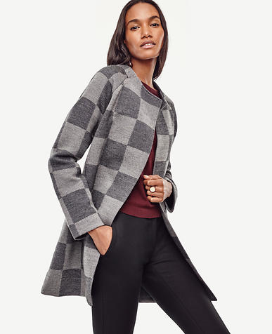 Image of Plaid Merino Wool Sweater Coat