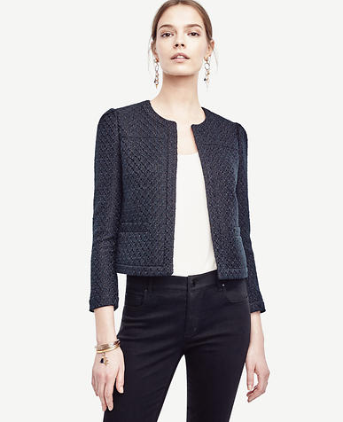 Image of Petite Tweed Open Jacket