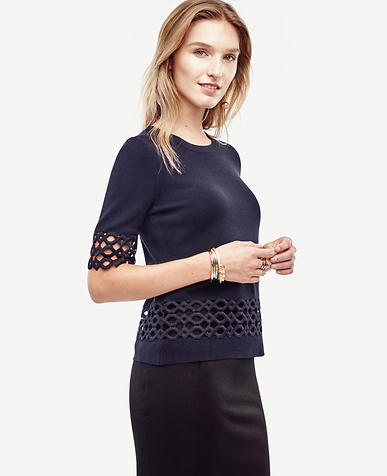 Image of Petite Eyelet Trim Pullover