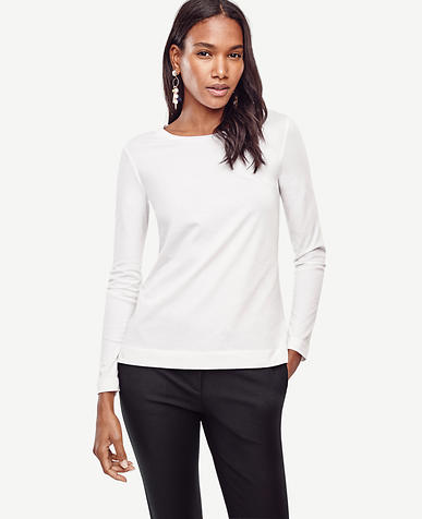 Image of Petite Cotton Long Sleeve Tee