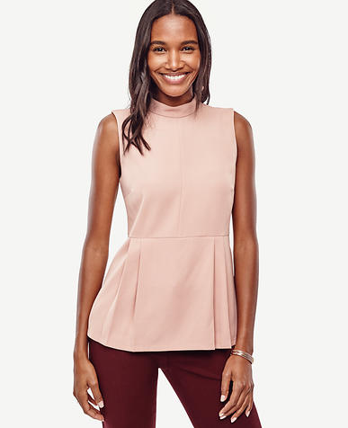 Image of Petite Crepe Mock Neck Peplum Top