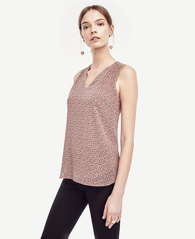 Image of Petite Confetti Petite Shirred V-Neck Shell