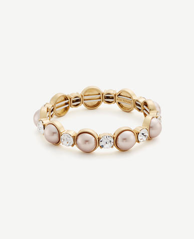 Image of Pearlized Crystal Stretch Bracelet