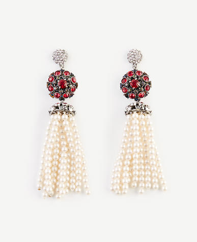 Image of Jeweled Pearlized Tassel Earrings