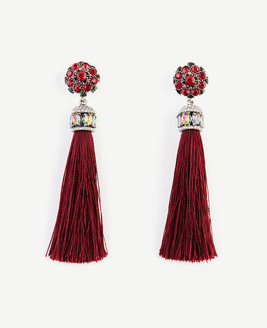 Image of Jeweled Silk Tassel Earrings