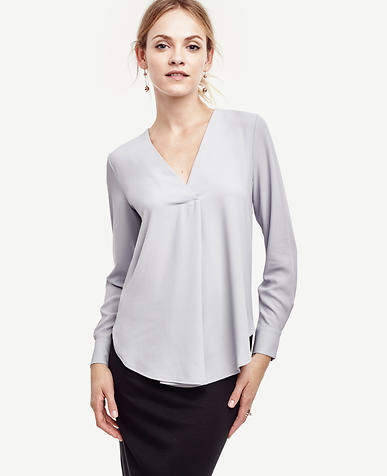 Image of Mixed Media V-Neck Blouse
