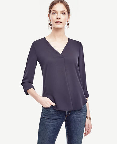 Image of Petite Mixed Media V-Neck Blouse
