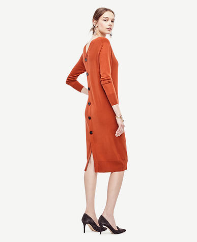 Image of Petite Back Button Sweater Dress