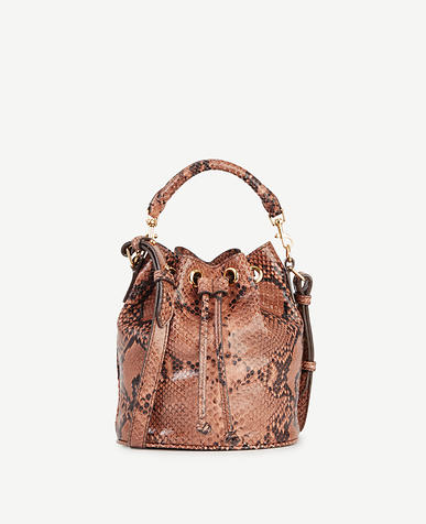Image of Snakeskin-Embossed Leather Mini Bucket Bag