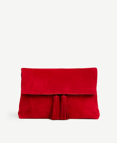 Image of Suede Foldover Tassel Clutch