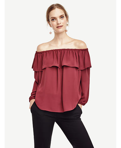 Image of Cold Shoulder Ruffle Top