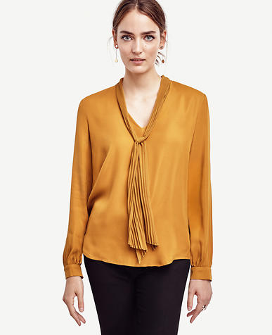 Image of Pleated Tie Neck Blouse