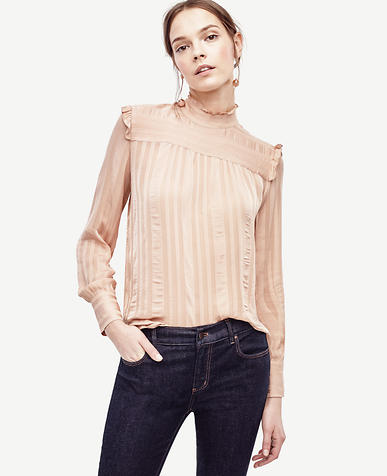 Image of Petite Striped High Neck Ruffle Blouse
