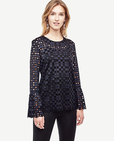 Image of Geo Lace Fluted Blouse