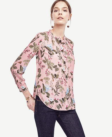 Image of Botanical Pleated Blouse