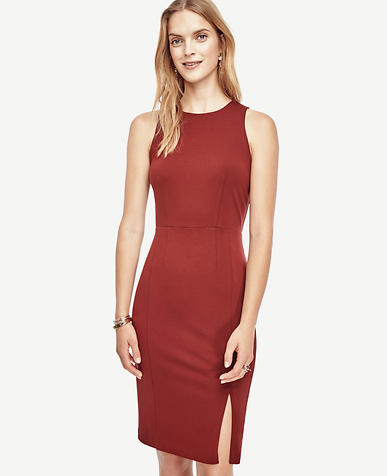 Image of Ponte Side Slit Sheath Dress
