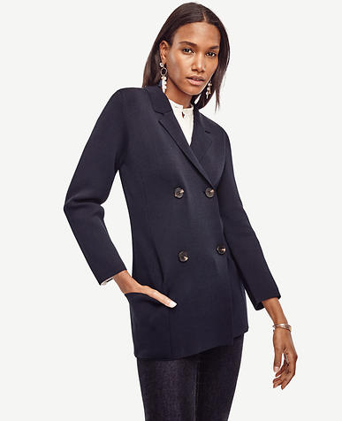 Image of Petite Double Breasted Sweater Jacket