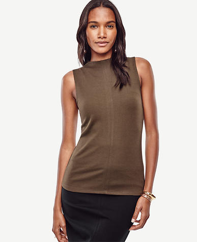 Image of Mock Neck Sleeveless Top