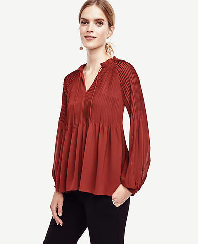 Image of Petite Pleated Tie Neck Blouse