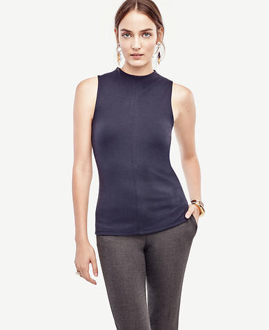 Image of Petite Mock Neck Sleeveless Top