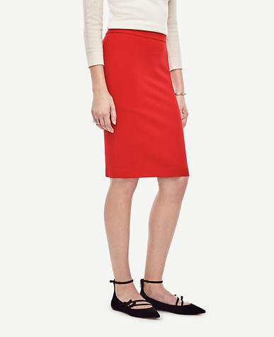 Image of Seamed Crepe Pencil Skirt