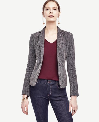 Image of Twill One Button Blazer
