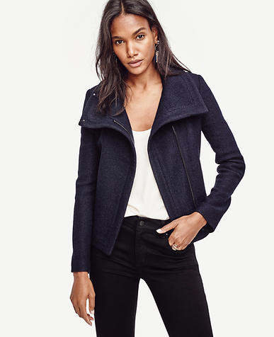 Image of Petite Wool Blend Moto Jacket