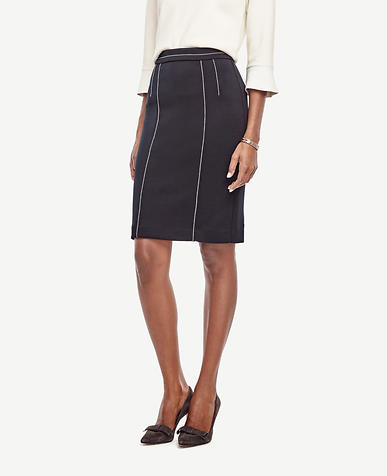 Image of Contrast Stitch Pencil Skirt