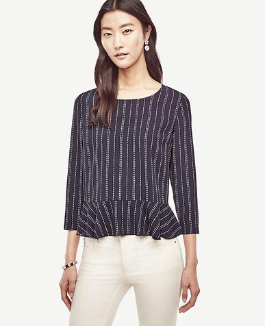 Image of Dash Stripe Mixed Media Peplum Top