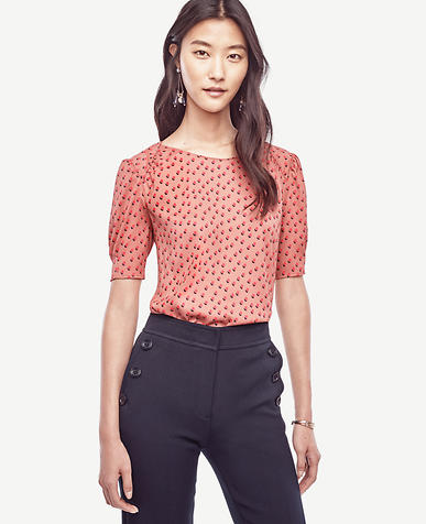 Image of Dot Shirred Short Sleeve Blouse