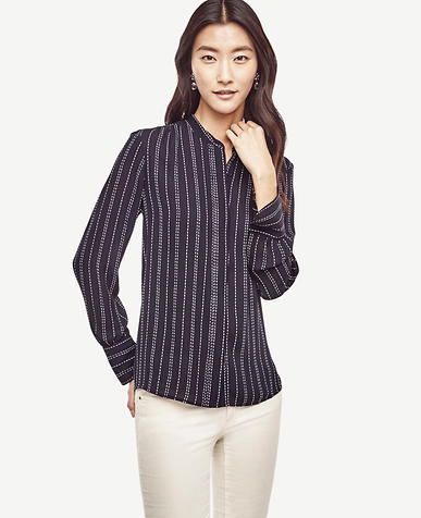 Image of Dash Stripe Shirred Blouse