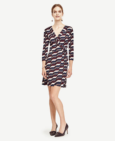 Image of Wavy 3/4 Sleeve Wrap Dress