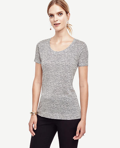 Image of Spotted Linen Scoop Neck Tee
