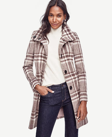 Image of Brushed Plaid Coat