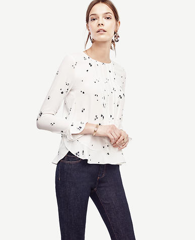 Image of Petite Floral Bell Sleeve Blouse