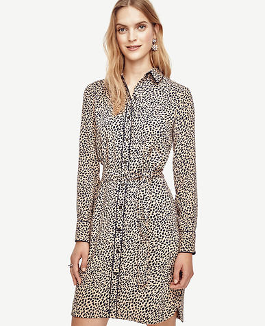 Image of Spotted Tipped Shirtdress
