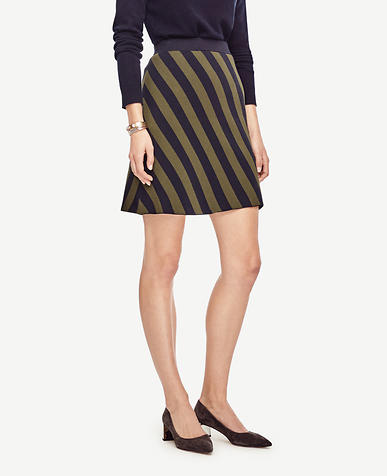 Image of Striped Jacquard Sweater Skirt