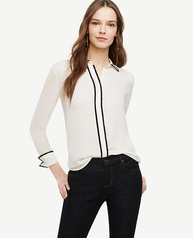 Image of Fringe Button Down Blouse