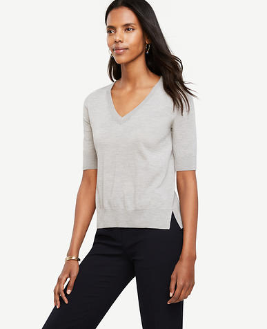 Image of Extrafine Merino Wool Short Sleeve V-Neck Sweater