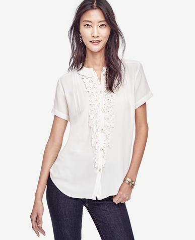 Image of Petite Ruffle Short Sleeve Blouse