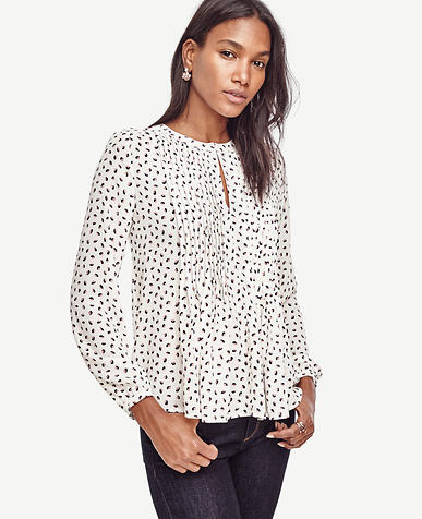 Image of Floral Pintuck Peplum Blouse
