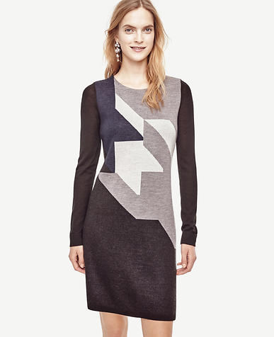 Image of Colorblock Houndstooth Sweater Dress